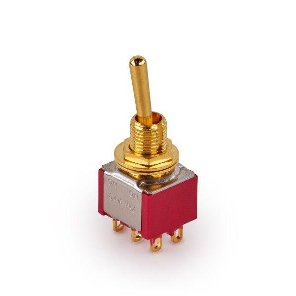 MEC Mini Toggle Switch, Long, Solder Lugs, ON/ON, DPDT - Gold