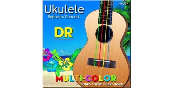 DR MULTI-COLOR Ukulele String Set, Sopran & Concert, High-G